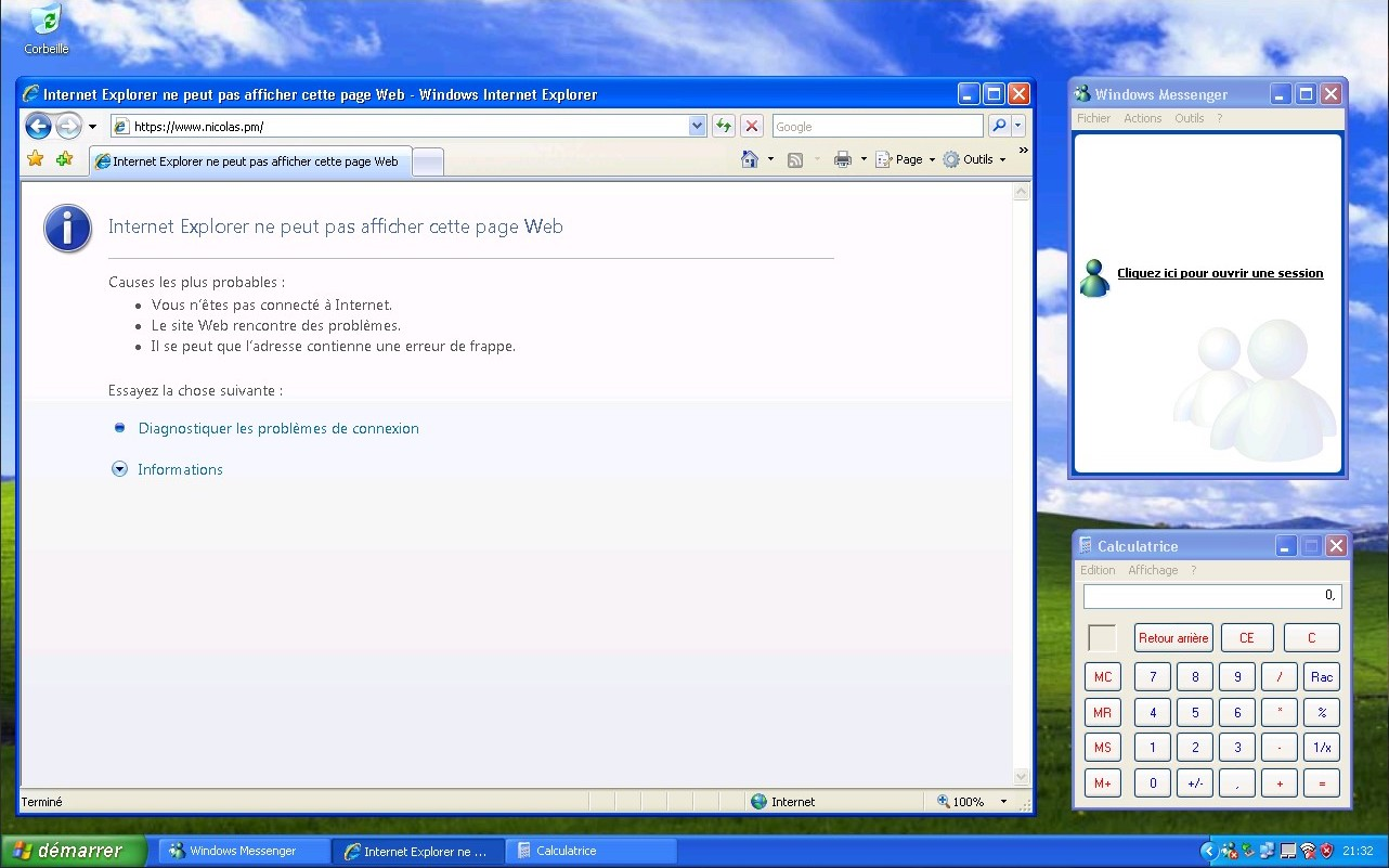 Bureau sous Windows XP avec Internet Explorer et Windows Messenger.